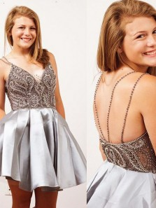 Sexy V Neck Backless Strap Silver Satin Homecoming Dresses With Beading Sweet 16 Homecoming Dresses HD0617017