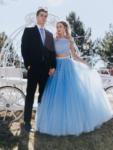 Cute A Line Off Shoulder Two Piece Blue Tulle Prom Dress with Beading