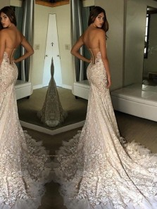 Luxurious Mermaid Sweetheart Backless Ivory Lace Court Train Wedding Dress Custom WD0618008