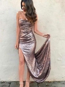 Charming Sexy Mermaid Sweetheart Backless Metal color Sequins Long Prom Dress with Sweet Train