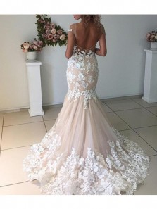 Elegant Champagne Mermaid Scoop Backless Wedding Dresses With Ivory Lace Appliques