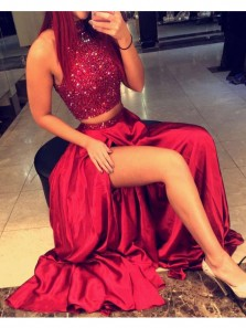Cheap Charming Two Piece Halter Red Split Lace Long Prom Dress with Beading, Long Evening Formal Dress