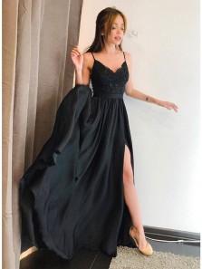 Cute A Line Black V Neck Split Chiffon Black Long Homecoming Dresses with Appliques, Prom Dresses, Little Black Dress