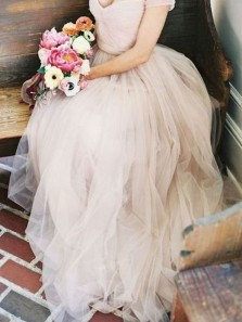 Simple A-line Off Shoulder Long Tulle Wedding Dress Bridal Gown