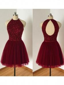 A Line Beaded Bodice Halter Burgundy Tulle Homecoming Dresses,Open Back Short Formal Dresses