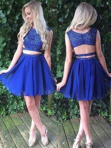Cute A-Line Two Piece Round Neck Royalblue Chiffon Homecoming Dress with Beading Sweet 16 Homecoming dress