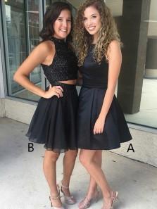 Cheap Cute A-Line Bateau Short Satin Black Homecoming Dress Cut Out Back, Little Black Dress Under 100