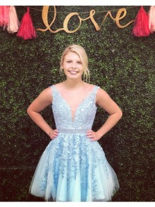 Cute A Line Light Blue V Neck Sleeveless Tulle Homecoming Dress with Appliques Under 100