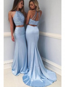 Sexy Halter Open Back Two Piece Blue Mermaid Prom Dresses with Beading PD0621001