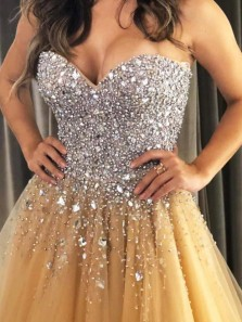Gorgeous Ball Gown Sweetheart Gold Tulle Sparkly Long Prom Dresses, Beaded Quinceanera Dresses