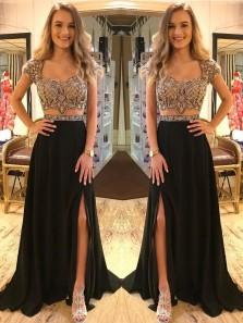 Fashion Elegant Two Piece Black Beading V Neck Cap Sleeve Open Back Prom Dress with Split, Evening Formal Dress