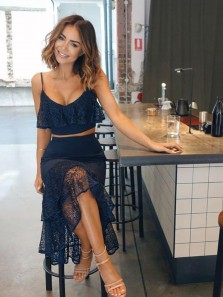 2018 Prom Dress Two Piece Sheath/Column Cheap Lace Tulle Tea Length Navy Prom Dresses/Evening Dress