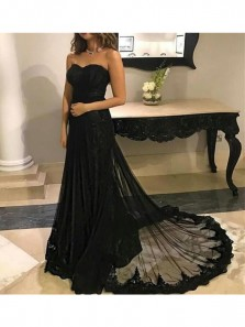 Black Lace Mermaid Charming Prom Dress with Court Train , Sweetheart Simple Modern Prom Dresses