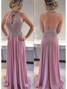 Sexy Column Prom Dress, Beading Halter Prom Dress, Chiffon Evening Dress