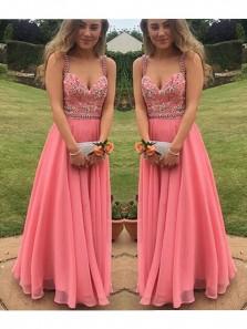 2018 Cheap Cute Long Prom Dress Custom Made A-Line Coral Beading Chiffon Formal Women Evening Gowns