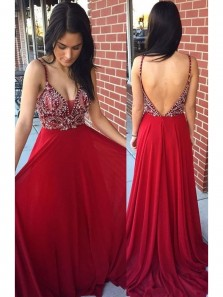 Sexy Red Chiffon Beaded Rhinestone Prom Dresses A-line Backless Deep V Neck Formal Party Dress