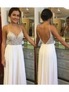 Charming V-Neck Beading White Chiffon Long Prom Dresses, Backless Sexy Evening Dresses