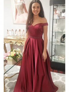 Charming A Line Satin Off Shoulder Burgundy Satin Prom Dresses With Beadings
