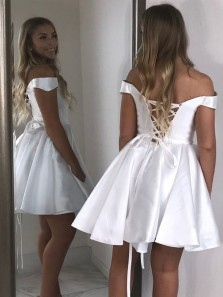 Cheap White Satin Homecoming Dresses Off Shoulder Short Prom Dress Under 100 with Pockets