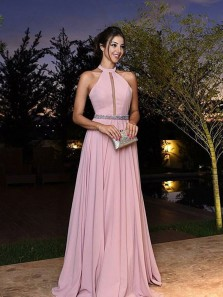 Charming A-Line Halter Open Back Pink Satin Long Prom Dress ,Beading Keyhole Elegant Formal Evening Dress
