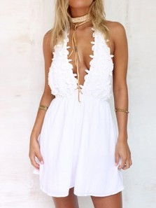 Simple Sexy A-Line Deep V-Neck Backless White Satin Homecoming Dress With Appliques ,Short Prom Under 100
