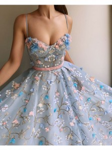 Cute Ball Gown Sweetheart Straps Blue Lace Court Train Prom Dresses With Applique WD0621001, Gown Dresses