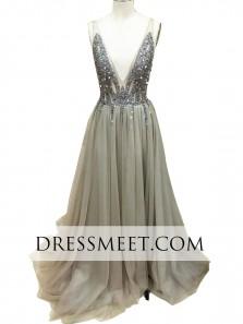 A Line V Neck Side Slit Light Grey Long Prom Dress, Formal Evening Dresses PD0724001