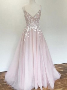 Charming A Line V Neck Fairy Pink Tulle Long Wedding Dress with Appliques