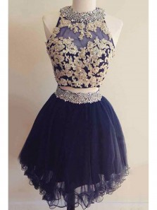 Cute Two Piece Homecoming Dress ,Beading Party Gowns, Open Back Cocktail dress