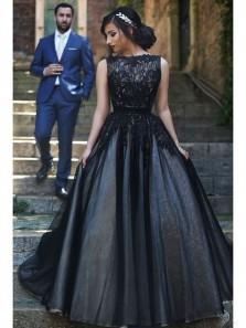 Elegant Ball Gown Scoop Black Lace Bodice Prom Dress, Free Custom Made Evening Dress