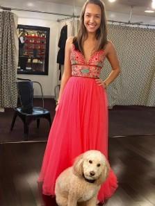 Cute A Line V Neck Spaghetti Straps Coral Chiffon Prom Dress,Elegant Fold Embroidery Modest Long Prom Dress