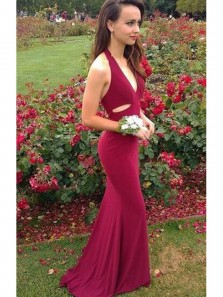 Popular Sexy Mermaid Deep V Neck Open Back Burgundy Prom Dress, Elegant Long Formal Evening Dress, Custom Made