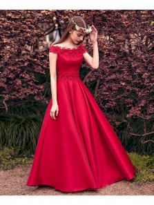 Cute A Line Off Shoulder Fairy Red Satin Prom Dress, Custom Made Elegant Evening Dress, Lace Quinceanera Dresses Teens PD0625001