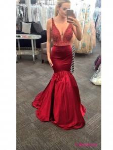 Charming Mermaid Deep V Neck Prom Dress with Beading, Red Satin Prom Dress
