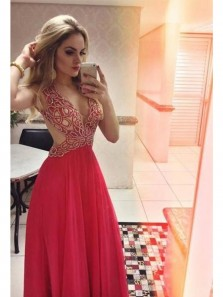 Sexy A Line Deep V Neck Backless Long Prom Dress with Beading,Red Chiffon Eveing Dress,Custom Made Prom Dress