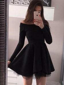 Cute A Line Off the Shoulder Black Short Party Dresses, Short Prom Dresses Under 100