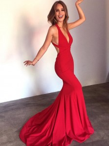Elegant Halter Mermaid Wine Red Elastic Long Prom Dresses with Train, Sexy Backless Custom Made Evening Dresses PD0625008