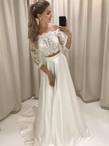 Stylish A-Line Two-Piece Off Shoulder White Lace Long Wedding Prom Dresses, White Homecoming Dress
