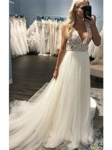 A-Line Deep V-Neck Sweep Train Beach Wedding Dress with Lace