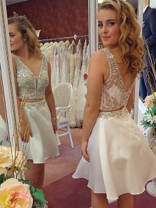 Cute Two Piece White Short Homecoming Dress, V Neck Open Back Beading Prom Dress