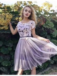 Cute A-Line Scoop Neck Open Back Purple Tulle Homecoming Dress with Lace, Elegant Cap Sleeve Short Homecoming Dress