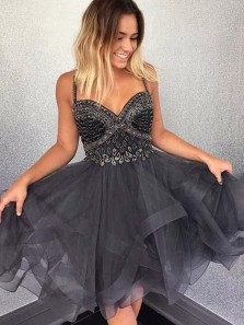 Cute A-Line Sweetheart Spaghetti Straps Grey Short Tulle Homecoming Dress with Beading
