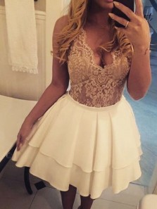 Cute V Neck Open Back Satin Tight Homecoming Dress, Elegant Champagne Lace Short Evening Dress