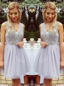 Cute A-Line V Neck Open Back Grey Short Tulle Homecoming Dress with Applique, Cheap Junior Homecoming Dress,