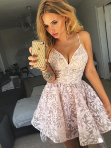 Cute A-Line Spaghetti Straps High Low Pink Lace Homecoming Dress