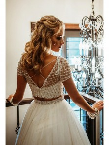 Gorgeous Two Piece White Tulle Custom Made Long Prom Dress with Cap Sleeves ,Quinceanera Dresses, Sweet 16 Dress