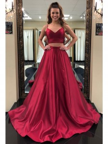 Charming Spaghetti Straps Two Piece Wine Red Satin Long Prom Dress, Custom Made Formal Evening Dress
