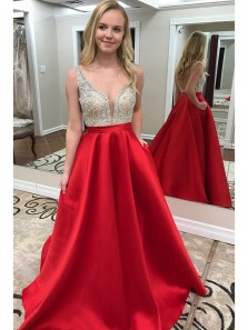 Charming A-line Red V Neck Backless Long Prom Dress with Pockets