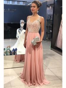 Gorgeous V Neck Beaded Brush Pink Chiffon Long Prom Dress, Charming Custom Made Formal Evening Dress