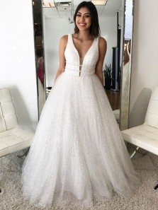 Gorgeous Ball Gown V Neck Spaghetti Straps Tulle White Long Prom Dresses, Sparkly Long Evening Quinceanera Dresses